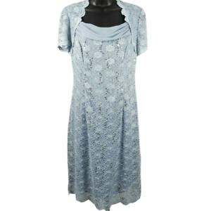 NWT-Alex-Evenings-Hydrangea-Blue-Floral-Lace-Sequin-Short-Sleeve-Dress-Size-8
