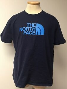 THE-NORTH-FACE-T-SHIRT-MENS-XL-EXTRA-LARGE-BLUE-WITH-LIGHT-BLUE-LOGO-CASUAL