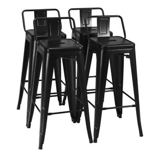 Cool Details About Set Of 4 Metal Bar Stools 30 Bar Height Barstools Industrial W Low Back Black Andrewgaddart Wooden Chair Designs For Living Room Andrewgaddartcom