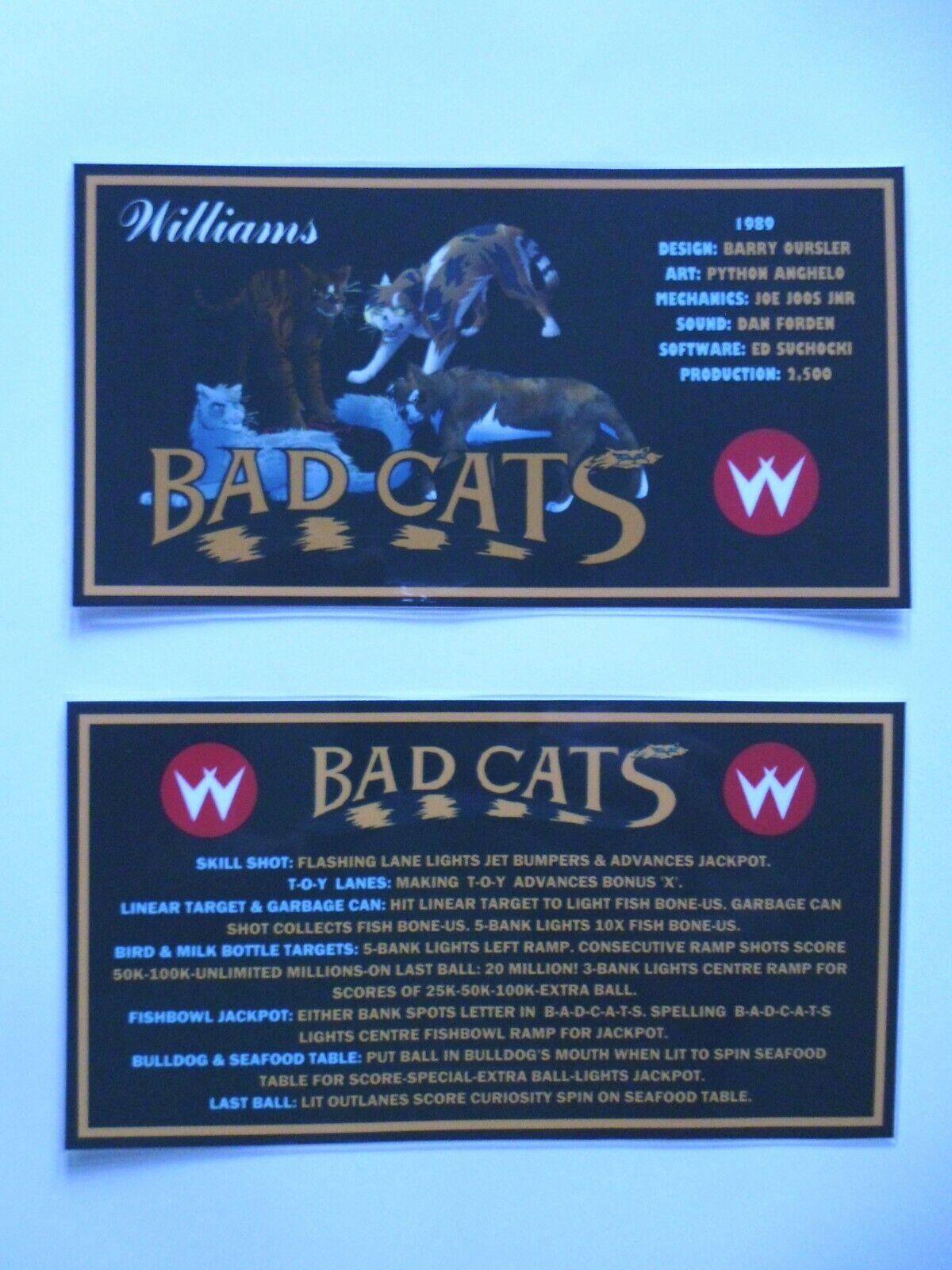 * * 'BAD CATS' Williams 1989 Custom Instruction/Apron Cards * * (New)