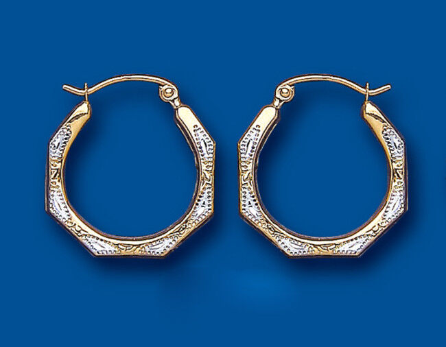 Hoop Earrings gold Creole Yellow and White gold Octagon 18mm Hallmarked
