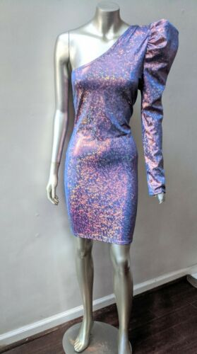 ONE SHOULDER PUFFED SLEEVE IRRIDESCENT SPARKLING … - image 1