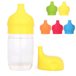 Kid-Elephant-Shape-Suction-Cup-Cover-Silicone-Sippy-Suck-Bottle-Trainingcup-Sala