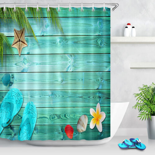 Summer Flip Flops Sea Shells Shower Curtain Set Waterproof Fabric Bathroom Hooks