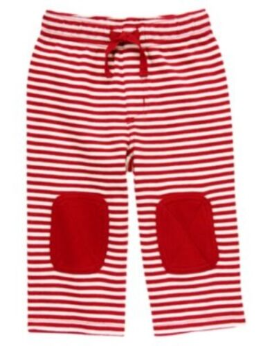 GYMBOREE BABY/'S FIRST HOLIDAY RED STRIPE KNEE PATCH KNIT PANTS 0 3 6 12 18 NWT