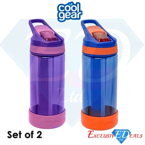 2 x Cool Gear Refill /& Reuse Ice Stick Water Bottles With Straw 473ml
