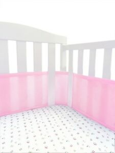 Breathable Portable Crib Bumper Pink Mesh Liner For Cradle Baby