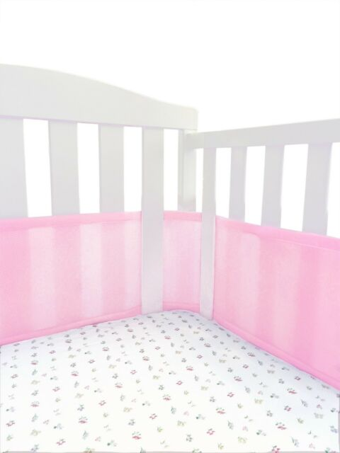 Mini Crib Breathable Bumper Pink Mesh For Portable Liner For Sale
