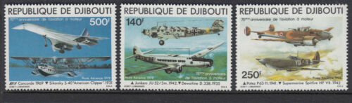 AIRCRAFT :1979 DJIBOUTI REPUBLIC-Anniversary of Powered Flight set SG 760-2 MNH