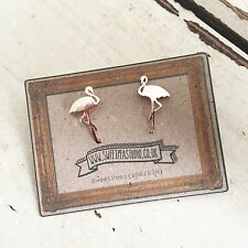 Kitsch Flamingo Brushed Rose Gold SweetPea Studio Stud Earrings Jewellery Gift!