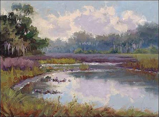 Jill Schultz-McGannon  Countryside Hues Keilrahmen-Bild Leinwand See Ufer