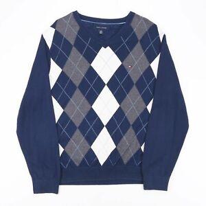 Vintage Tommy Hilfiger blau 90s V-Neck Pullover Herren L