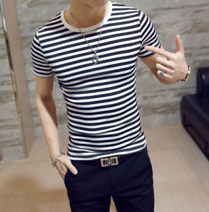 Men-Stylish-Tee-Slim-Fit-Casual-T-shirts-Striped-Shirt-Fashion-Short-Sleeve-Tops