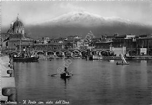 Cartolina-Postcard-Catania-Porto-Barche-Ponte-Etna-1954-VG