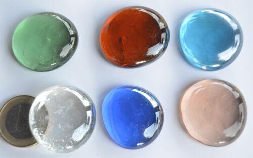 6 St. ca.60g Glasnuggets Deko Mosaiksteine a ca 26-33mm Glassteine Farbauswahl