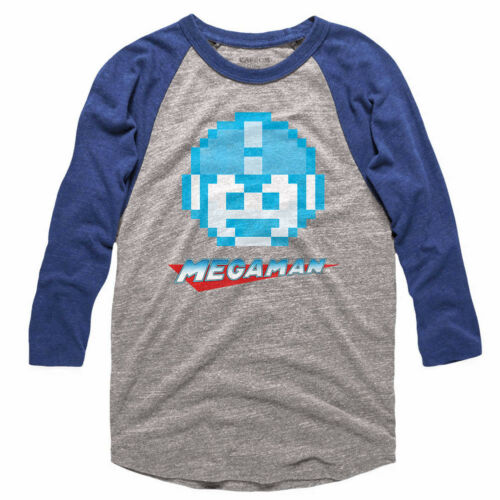 Megaman Rokkuman 8Bit Pixel Face Head Men/'s Raglan Shirt Vintage Gamer Capcom