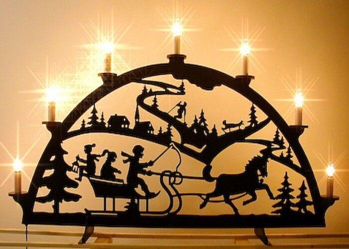 Außenbogen aus Kunststoff Winter im Erz 7 Kerzen 140 x 74cm wetterfest 04537