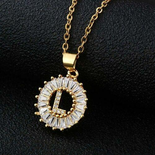 Anfangsalphabet A-Z 26 Buchstaben Kristall Anhänger Zirkon Edelstahl Halskette