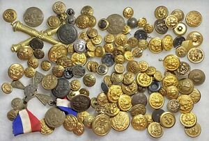 120-Estate-Antique-Various-Military-Buttons-Metal-Great-Vintage-Lot-306