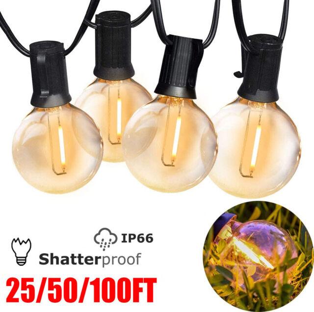 G40 String Lights Globe Clear Bulbs, Clear Patio String Lights