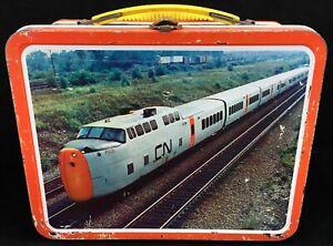 1970-CN-CP-Canadian-Rail-Road-TRAIN-Vintage-Metal-LUNCHBOX-Ohio-Art-Lunch-Box