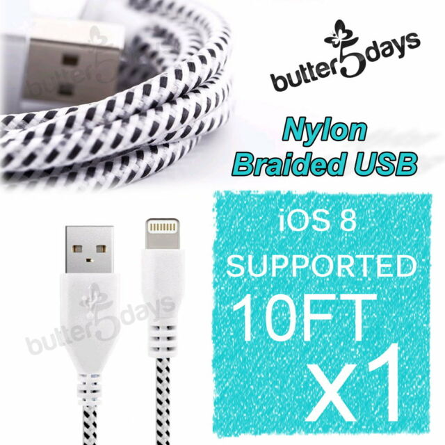 10FT Braided Nylon 8Pin Data Sync USB Cable Charger for iPhone 5 5S 5C 6 Plus