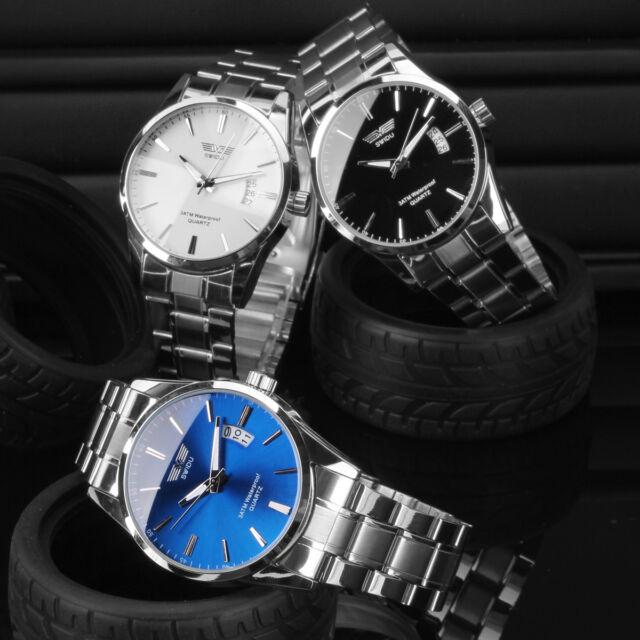 SWIDU Herrenuhr Edelstahl Analog Sport Quarzuhr mit Datum Armbanduhr Damenuhr
