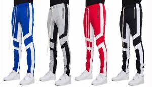 Men/'s Poly Side Ankle Zipper Slim Pin Stripe Techno Track Pants New EPTM