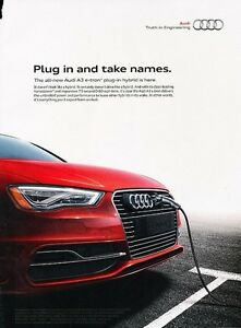 Image Is Loading 2016 Audi A3 E Tron Electric Original Adver