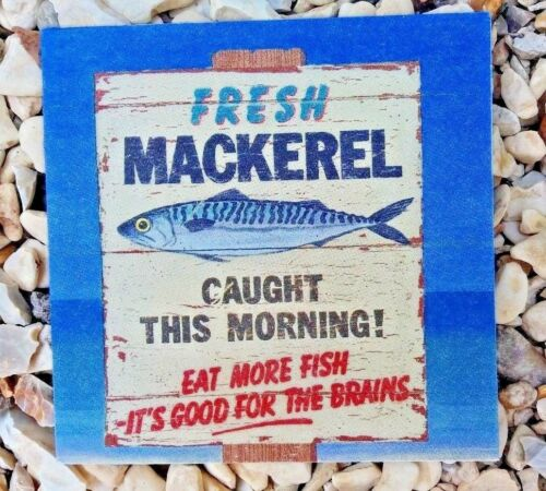 Chic Shabby Vintage Wooden Picture Plaque Art Seaside Mackerel Fish Beach Sign