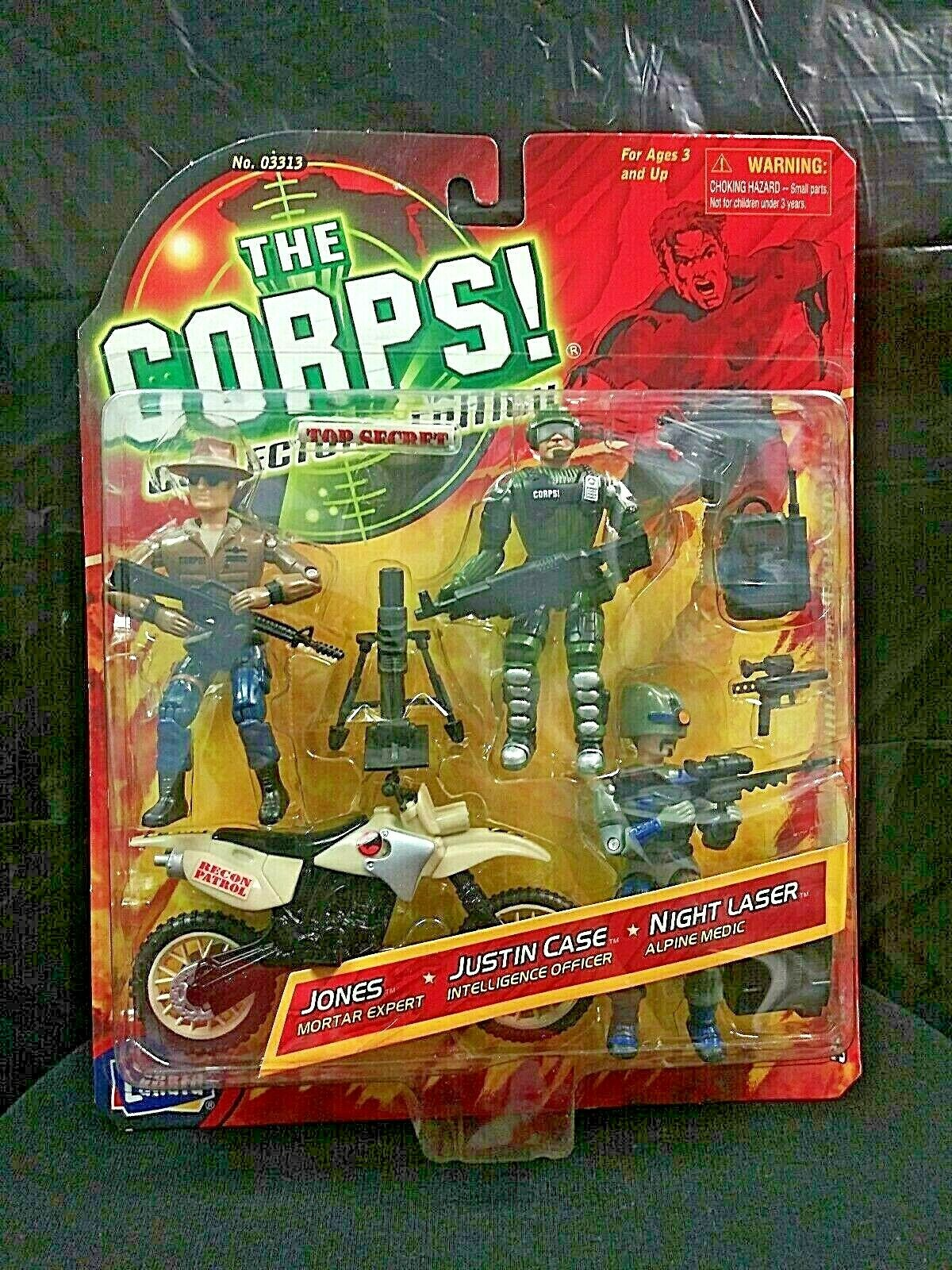 LANARD TOYS THE CORPS COLLECTORS EDITION 2001 JONES, JUSTIN CASE & NIGHT LASER