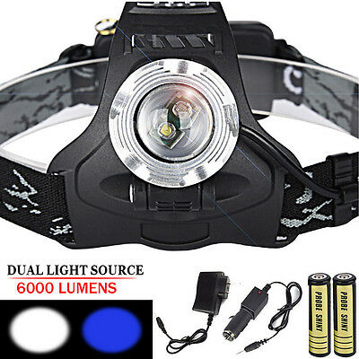 6000 Lumens Zoom XM-L 2xT6 LED Rechargeable 18650 Headlamp Headlight Light Torch