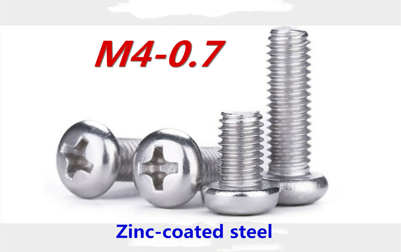 100 M4-0.7x16mm Metric Phillips Pan Head Machine Screw Zinc