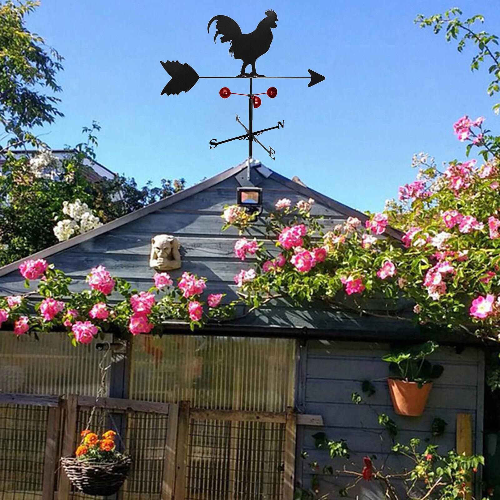 Retro Cock Shape Weathervane Fence Mount Wind Direction Indicator Barn Decor
