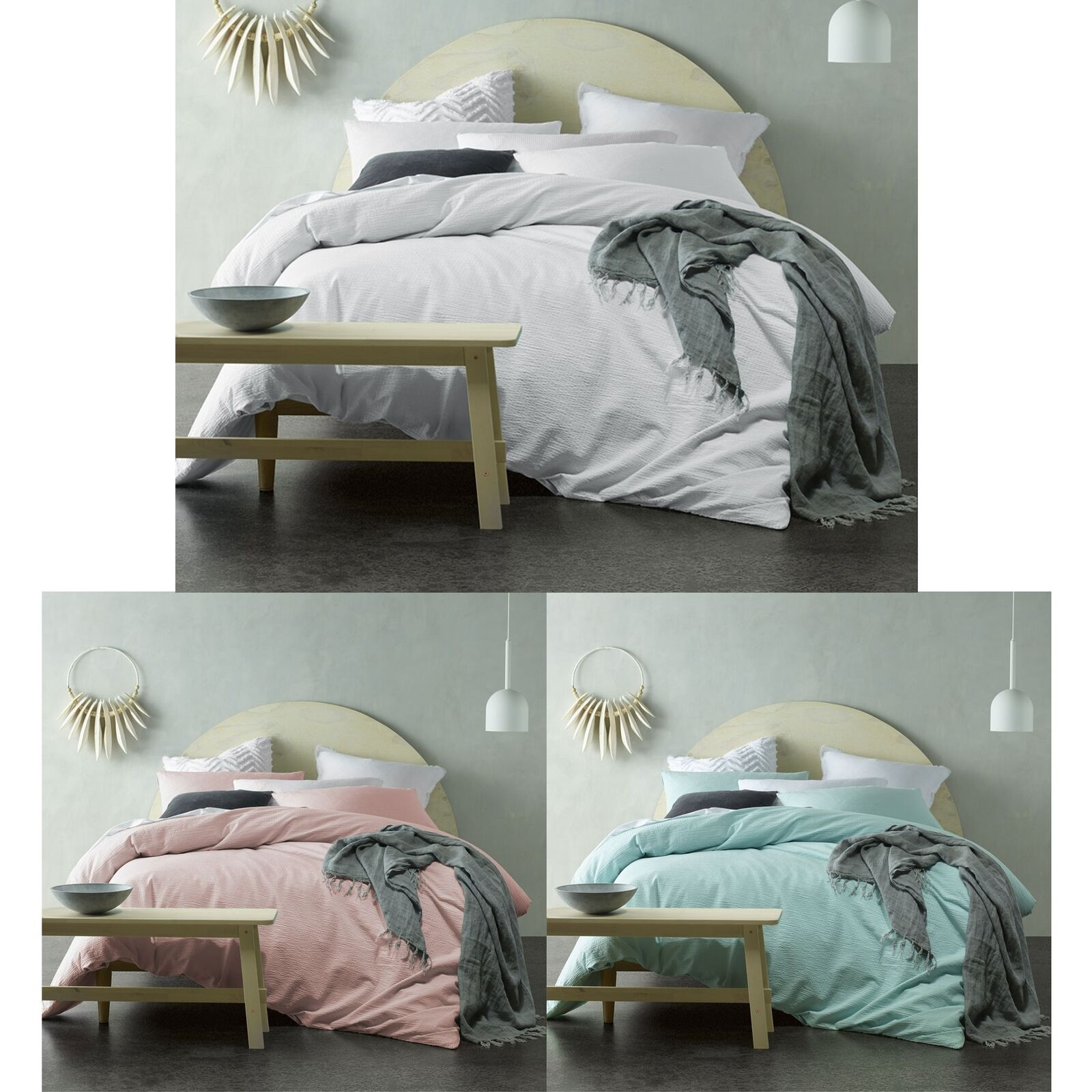 Crinkle Cotton Quilt Cover Set by Accessorize - SINGLE DOUBLE QUEEN KING