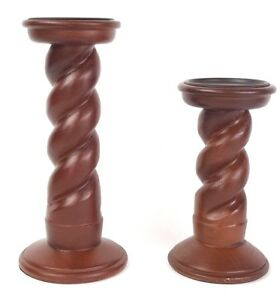 Details About Set Of 2 Spiral Brown Wooden Pillar Candle Holders From Kohls Nwt 11 8 Tall