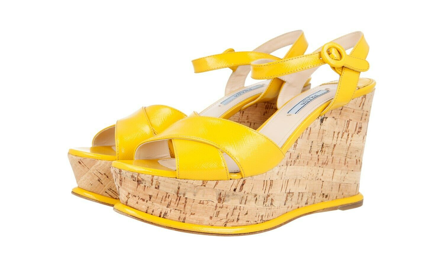 Luxury PRADA Safffano Wedge Platform Sandals scarpe  1XZ265 giallo NEW 40,5 UK 7  online al miglior prezzo