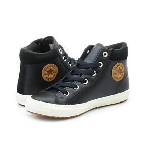 Scarpe Converse All star Boot alte bambino ragazzo pelle nero   eBay