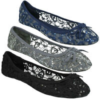 LADIES SPOT ON F80085 BOW DETAIL LACE UPPER ROUND TOE FLAT CASUAL DOLLY SHOES