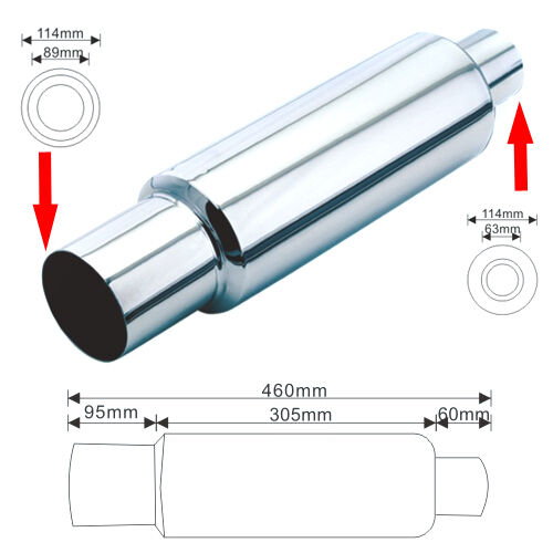 "3/""Outlet 2.5/"" Inlet 18/"" N1 Style Stainless Steel Exhaust Muffler Silencer A2107"