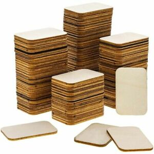 120 Pack Unfinished Wood Square Cutout Pieces for DIY Crafts, 2 x 1.3 Inches