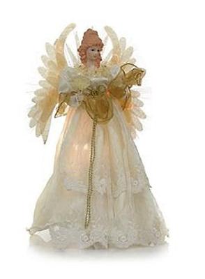 """HSN Price $90 Winter Lane Fiber Optic Musical Angel Tree Topper 16/"""""""