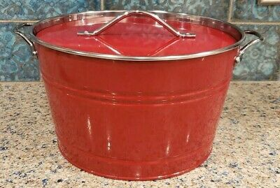 Pottery Barn Partyware Red Ice Bucket Metal Can With Lid
