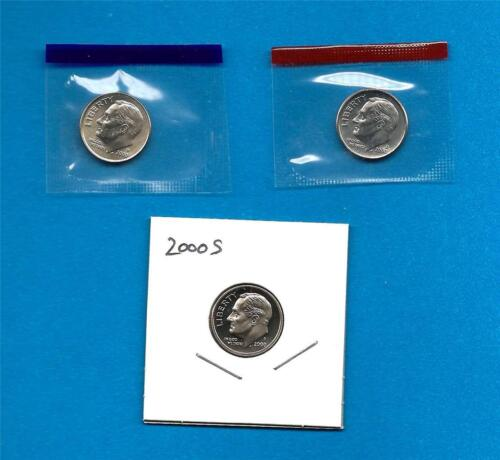 2000 P D and S  BU and Clad Proof Roosevelt Dime Set PD in Mint Set Cellos