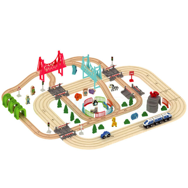 Wooden 100 Pcs Busy Road Train Set Railway Track Toy Brio Bigjigs Compatible