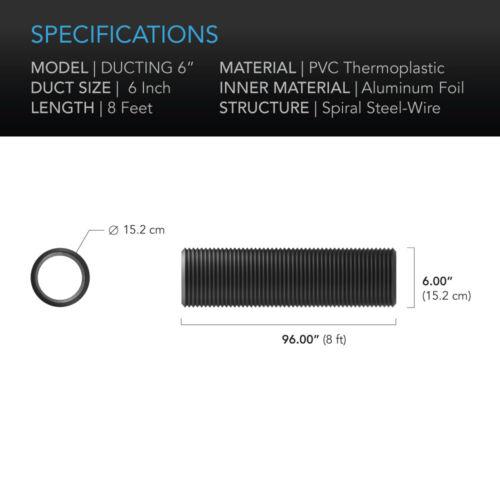 8-Feet Long Ventilation Exhaust Flexible 6-Inch Four-Layer Aluminium Ducting