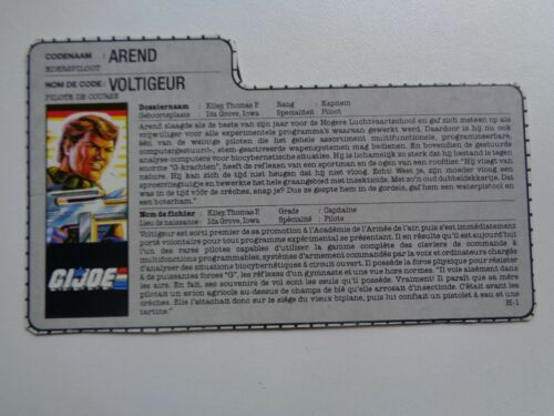 Gi Joe BELGIAN FILE CARD TIGER FORCE FRENCH DUTCH FR NL ENG BELGIUM