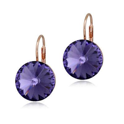 Large 15 Mm Round Bella Earring Purple Swarovski Crystal Rose Gold Plated Bezel Ebay