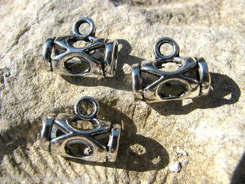 10 Verbinder, befestigen von Anhängern, silberfarben, Perlen basteln, Anhänger