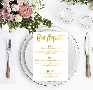 Gold Foil Wedding Menu Personalised Reception Dinner Menu/'s Bon Appetit Sign